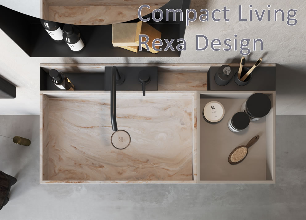 Compact Living Rexa Design Lavabo Corian Dune