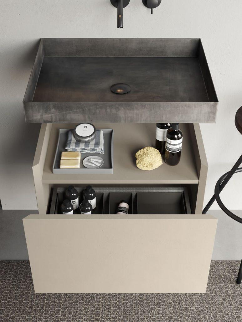 mueble compacto con lavabo inox hierro Rexa Design