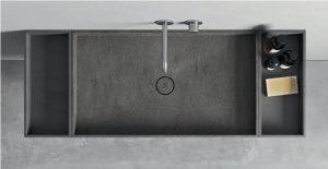 Encimera con lavabo en Carbon Aggregate + laterales en Carbon concrete Corian Rexa Design